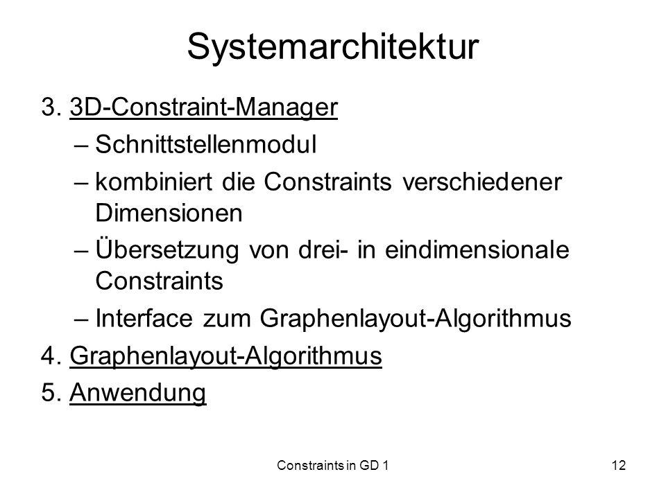 Constraints in GD 112 Systemarchitektur 3. 3D-Constraint-Manager –Schnittstellenmodul –kombiniert die Constraints verschiedener Dimensionen –Übersetzu
