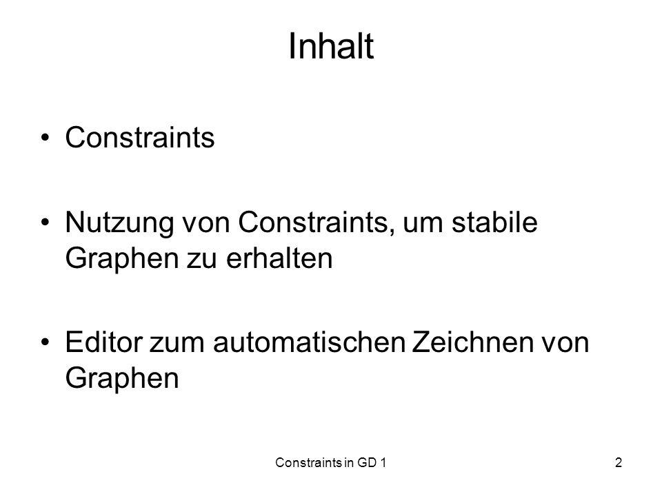 Constraints in GD 13 Constraints vom Benutzer formulierte oder vom Algorithmus automatisch generierte Nebenbedingungen Aufgaben: –Korrektheit garantieren –Aussagekraft erhöhen