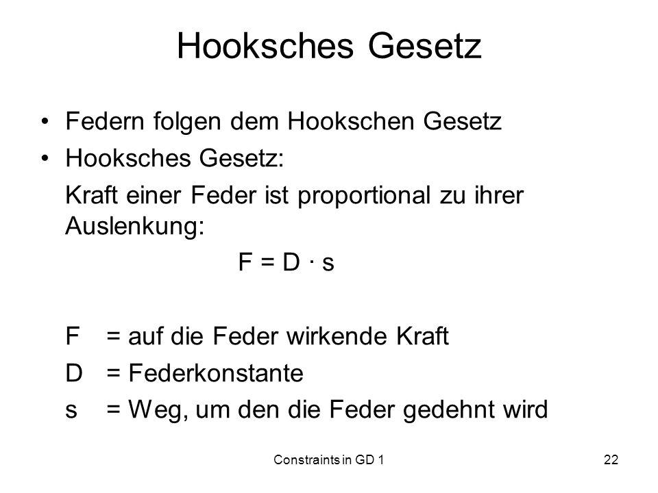 Constraints in GD 122 Hooksches Gesetz Federn folgen dem Hookschen Gesetz Hooksches Gesetz: Kraft einer Feder ist proportional zu ihrer Auslenkung: F
