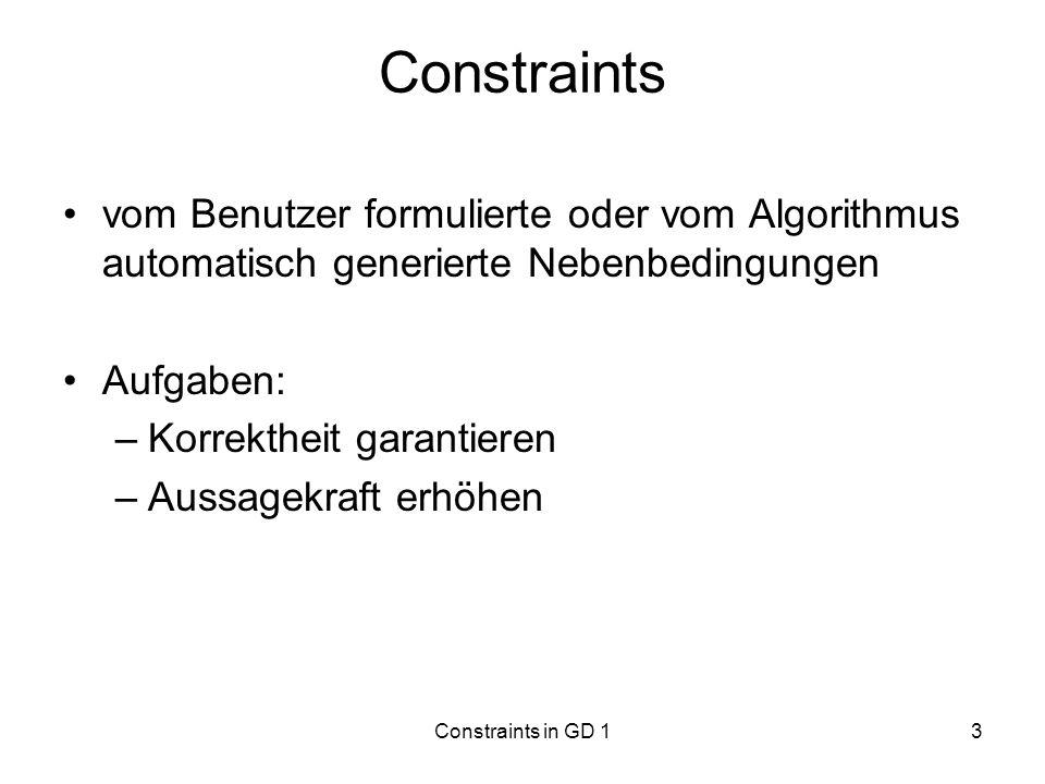 Constraints in GD 14 Problemstellung Zwei Nachteile bei Berechnung automatischer Layouts von Graphen: 1.Ohne Eingreifen des Benutzers kann der Algorithmus nur syntaktisch korrekte Graphen erstellen 2.Nach einer Änderung des Graphen berechnet der Algorithmus ein komplett neues Layout, ohne das alte zu berücksichtigen Benutzer verliert schnell die Orientierung