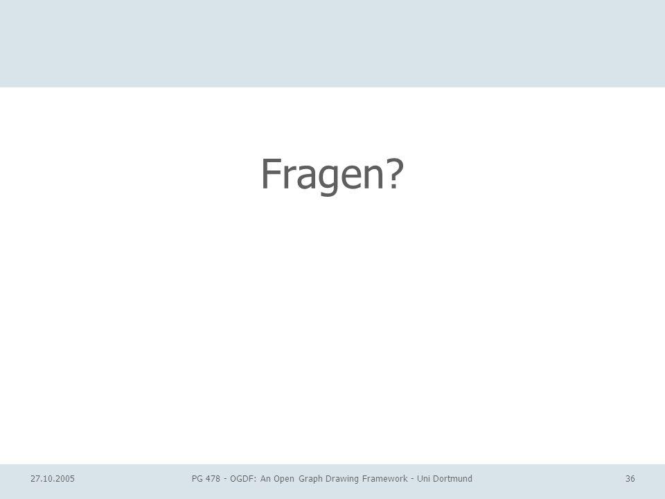 27.10.2005PG 478 - OGDF: An Open Graph Drawing Framework - Uni Dortmund36 Fragen?