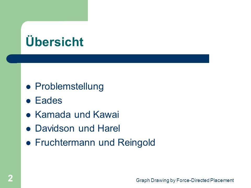 Graph Drawing by Force-Directed Placement 2 Übersicht Problemstellung Eades Kamada und Kawai Davidson und Harel Fruchtermann und Reingold