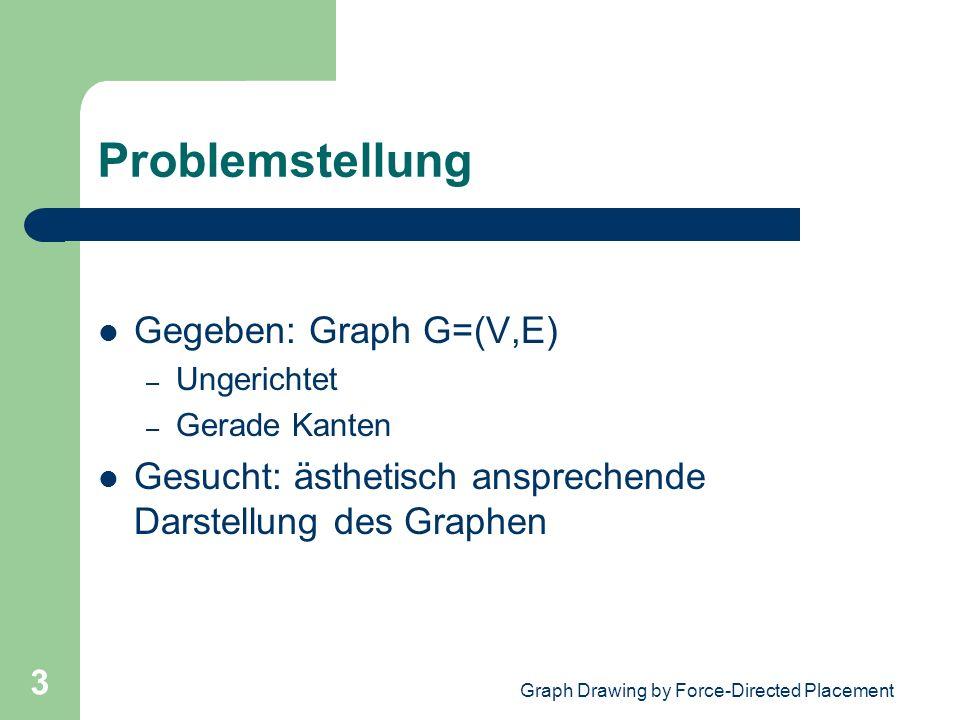 Graph Drawing by Force-Directed Placement 3 Problemstellung Gegeben: Graph G=(V,E) – Ungerichtet – Gerade Kanten Gesucht: ästhetisch ansprechende Dars