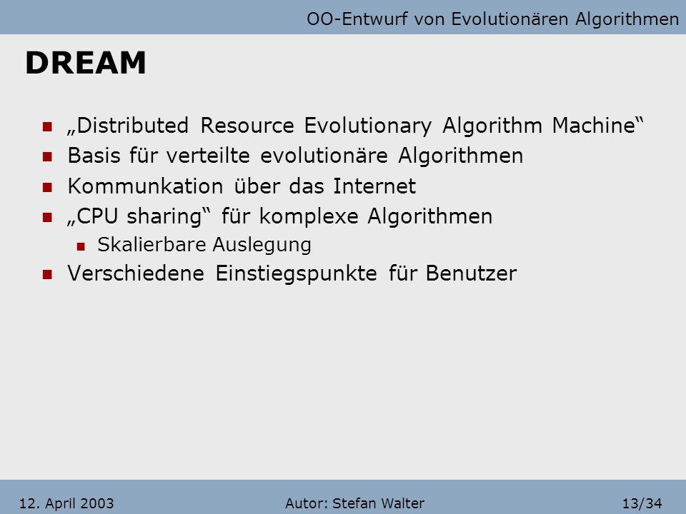 OO-Entwurf von Evolutionären Algorithmen Autor: Stefan Walter12/3412. April 2003 Gliederung Systematische Herangehensweise Grundprinzipien und Beispie