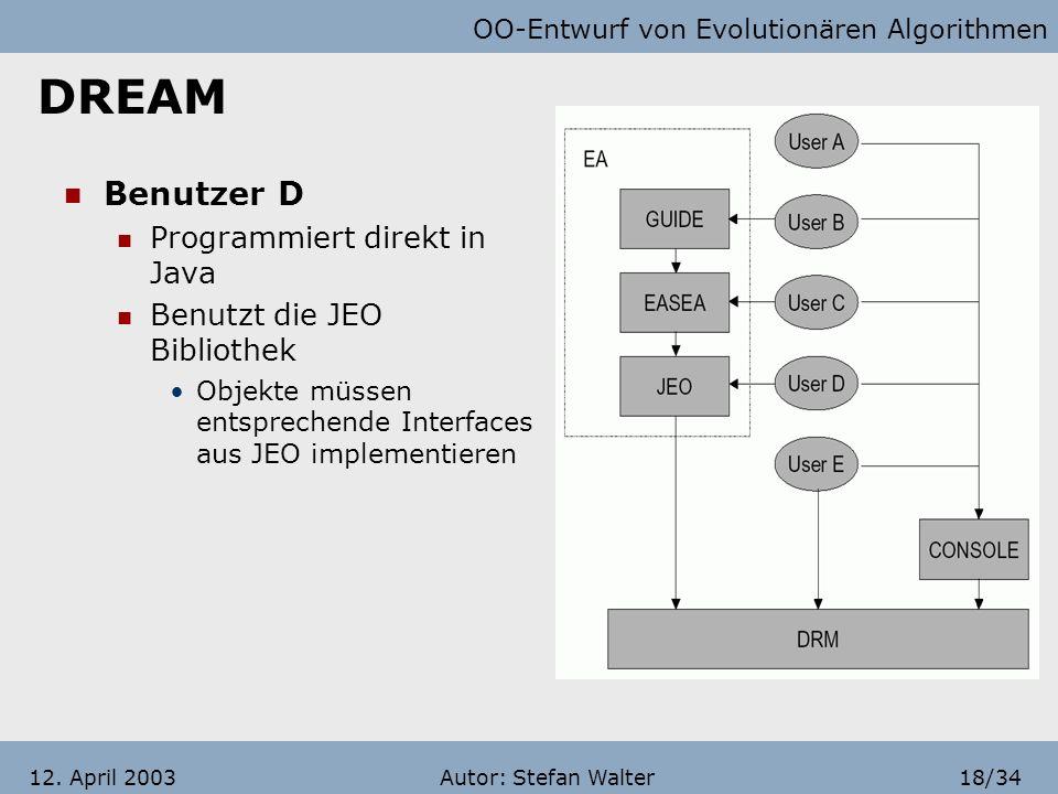 OO-Entwurf von Evolutionären Algorithmen Autor: Stefan Walter17/3412. April 2003 DREAM Benutzer C möchte Das System durch EASEA programmieren Hochspra