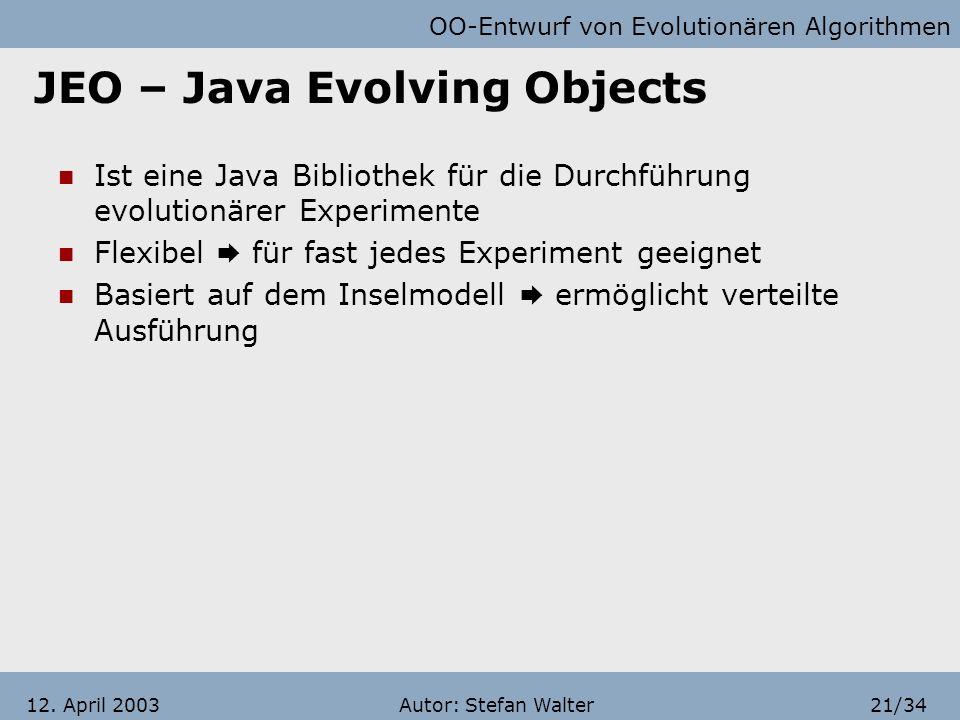 OO-Entwurf von Evolutionären Algorithmen Autor: Stefan Walter20/3412. April 2003 Gliederung Systematische Herangehensweise Grundprinzipien und Beispie