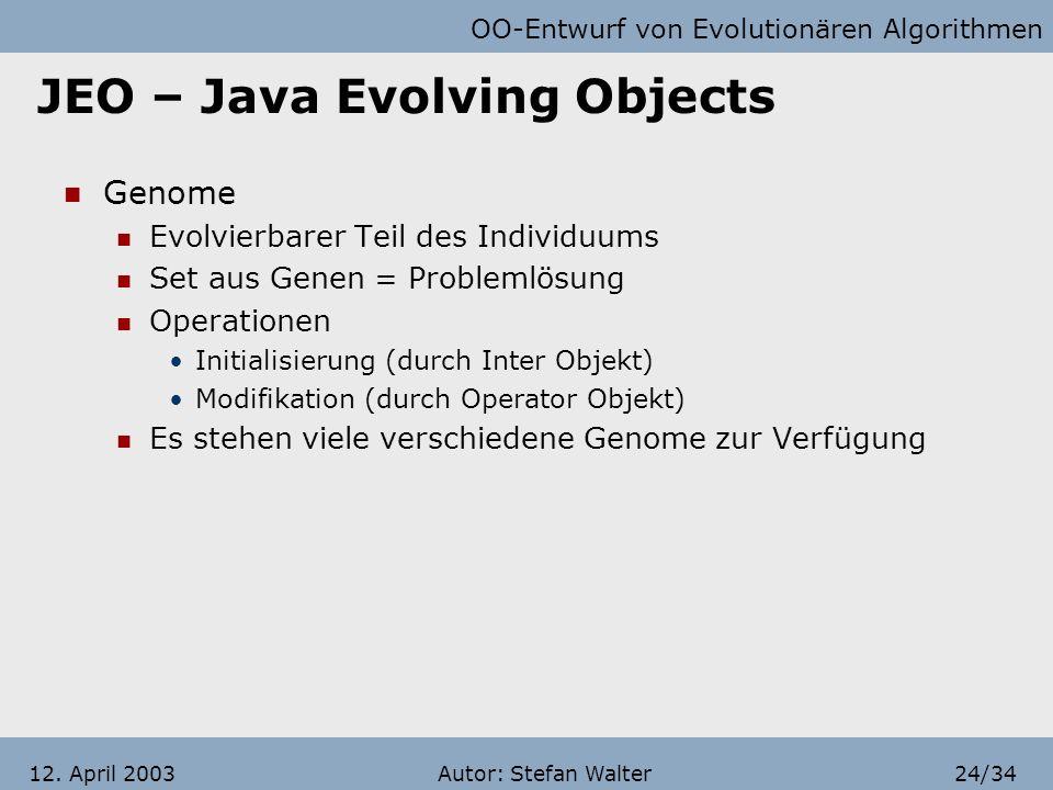 OO-Entwurf von Evolutionären Algorithmen Autor: Stefan Walter23/3412. April 2003 JEO – Java Evolving Objects InfoHabitants Individuen in DREAM Besteht