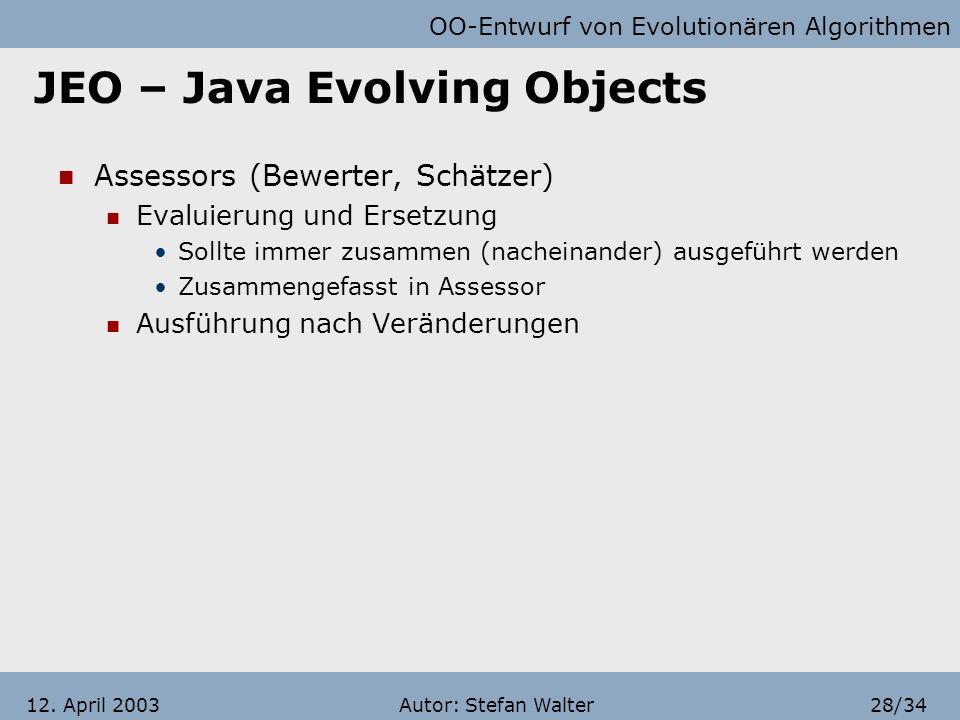 OO-Entwurf von Evolutionären Algorithmen Autor: Stefan Walter27/3412. April 2003 JEO – Java Evolving Objects Selectors Auswahl eines InfoHabitants aus