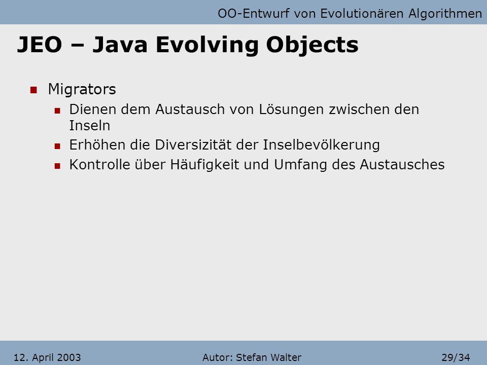 OO-Entwurf von Evolutionären Algorithmen Autor: Stefan Walter28/3412. April 2003 JEO – Java Evolving Objects Assessors (Bewerter, Schätzer) Evaluierun