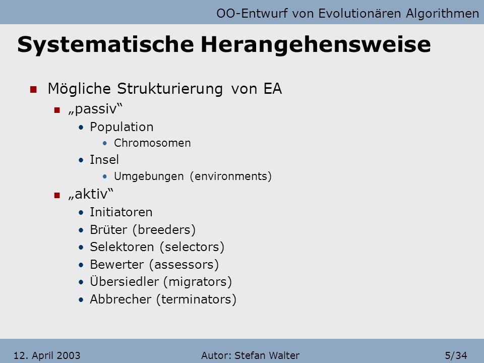 OO-Entwurf von Evolutionären Algorithmen Autor: Stefan Walter15/3412.