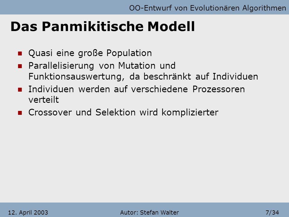 OO-Entwurf von Evolutionären Algorithmen Autor: Stefan Walter6/3412. April 2003 Inselmodell Zur parallelen Ausführung des gleichen Algorithmus auf meh