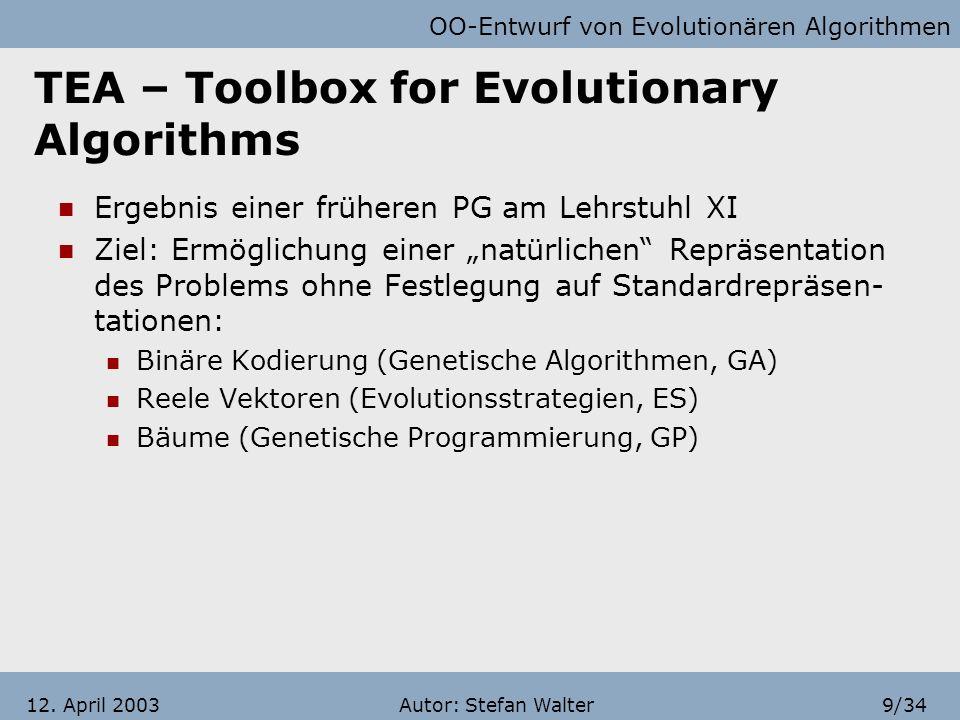 OO-Entwurf von Evolutionären Algorithmen Autor: Stefan Walter8/3412. April 2003 Gliederung Systematische Herangehensweise Grundprinzipien und Beispiel
