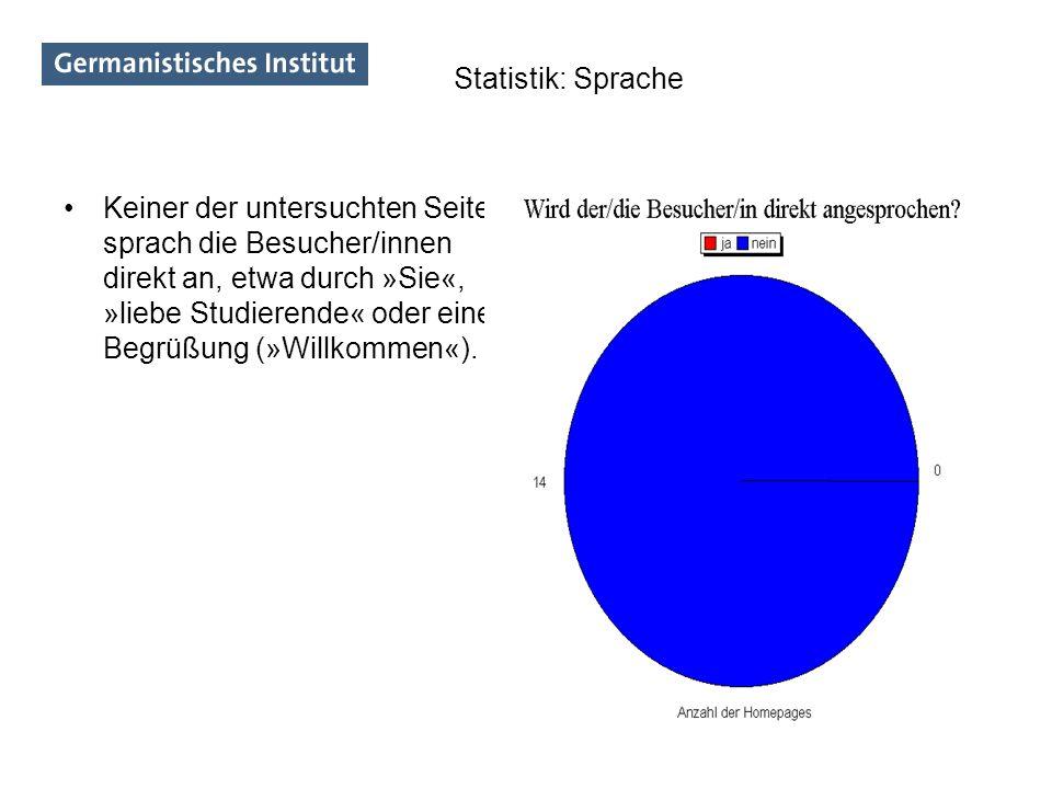 Keiner der untersuchten Seiten sprach die Besucher/innen direkt an, etwa durch »Sie«, »liebe Studierende« oder eine Begrüßung (»Willkommen«). Statisti