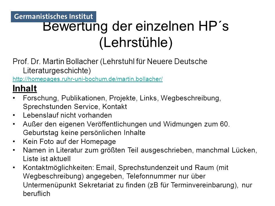 Bewertung der einzelnen HP´s (Lehrstühle) Prof. Dr. Martin Bollacher (Lehrstuhl für Neuere Deutsche Literaturgeschichte) http://homepages.ruhr-uni-boc