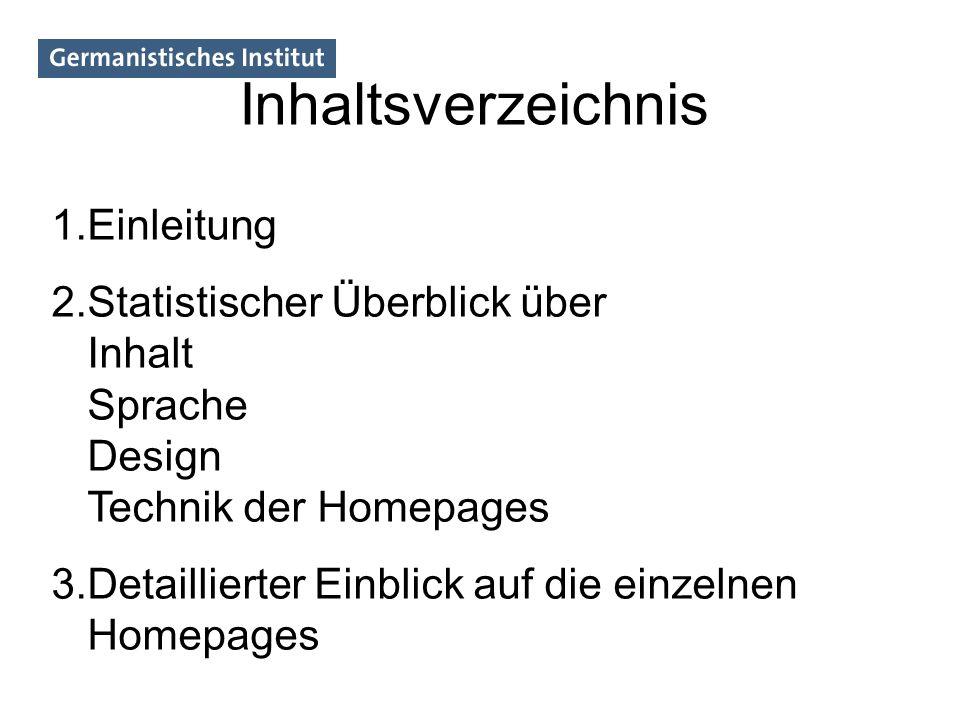 Inhaltsverzeichnis 1.Einleitung 2.Statistischer Überblick über Inhalt Sprache Design Technik der Homepages 3.Detaillierter Einblick auf die einzelnen
