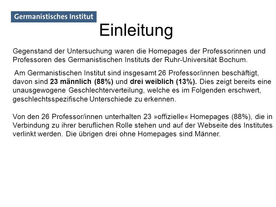 Von den 23 Homepages wurden 14 detailliert untersucht, darunter 12 von Professoren und 2 von Professorinnen.