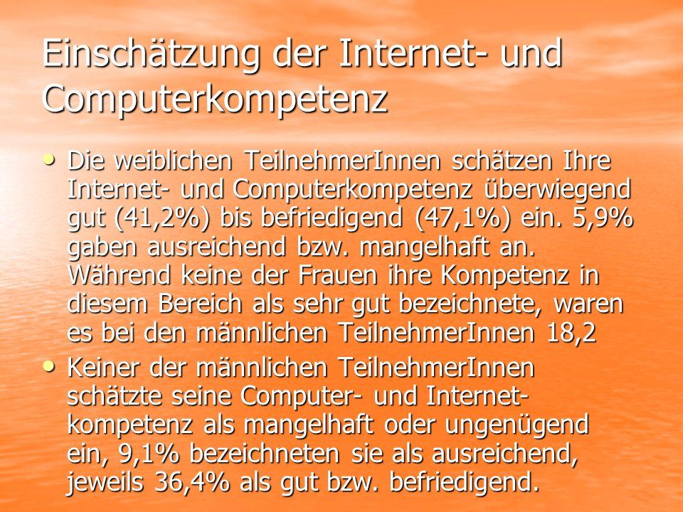 Einschätzung der Internet- und Computerkompetenz Die weiblichen TeilnehmerInnen schätzen Ihre Internet- und Computerkompetenz überwiegend gut (41,2%) bis befriedigend (47,1%) ein.