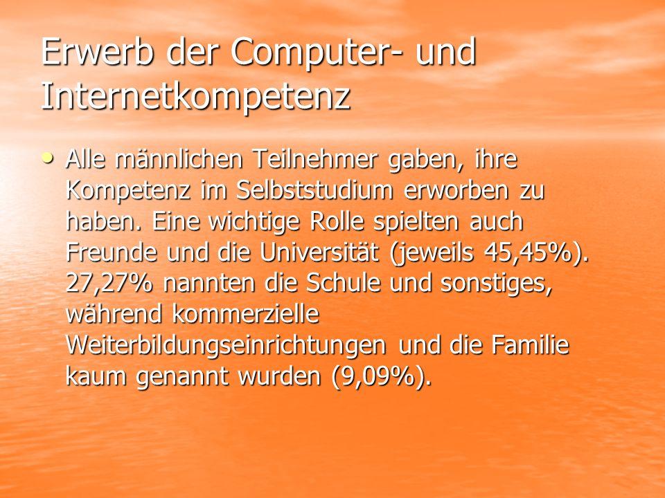 Erwerb der Computer- und Internetkompetenz Alle männlichen Teilnehmer gaben, ihre Kompetenz im Selbststudium erworben zu haben. Eine wichtige Rolle sp