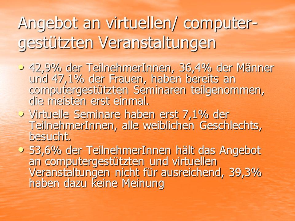 Angebot an virtuellen/ computer- gestützten Veranstaltungen 42,9% der TeilnehmerInnen, 36,4% der Männer und 47,1% der Frauen, haben bereits an computergestützten Seminaren teilgenommen, die meisten erst einmal.