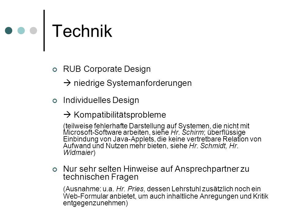 Technik RUB Corporate Design niedrige Systemanforderungen Individuelles Design Kompatibilitätsprobleme (teilweise fehlerhafte Darstellung auf Systemen, die nicht mit Microsoft-Software arbeiten, siehe Hr.