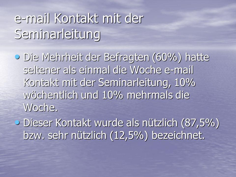 e-mail Kontakt mit der Seminarleitung Die Mehrheit der Befragten (60%) hatte seltener als einmal die Woche e-mail Kontakt mit der Seminarleitung, 10% wöchentlich und 10% mehrmals die Woche.