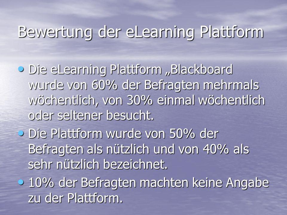 Bewertung der eLearning Plattform Die eLearning Plattform Blackboard wurde von 60% der Befragten mehrmals wöchentlich, von 30% einmal wöchentlich oder seltener besucht.