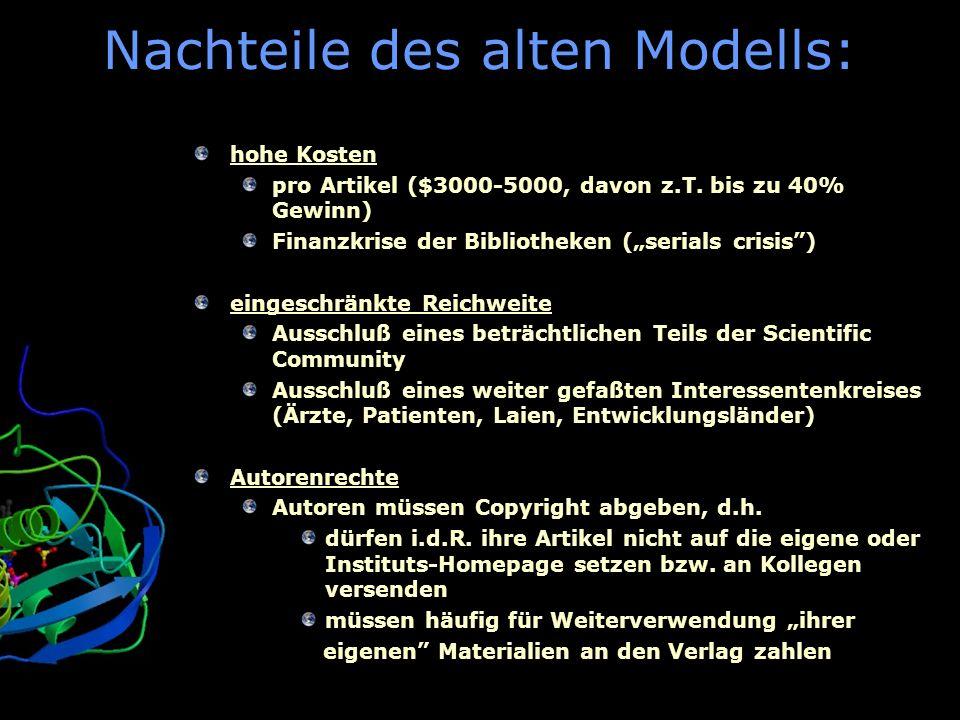 BioMed Central Nachteile des alten Modells: hohe Kosten pro Artikel ($3000-5000, davon z.T. bis zu 40% Gewinn) Finanzkrise der Bibliotheken (serials c