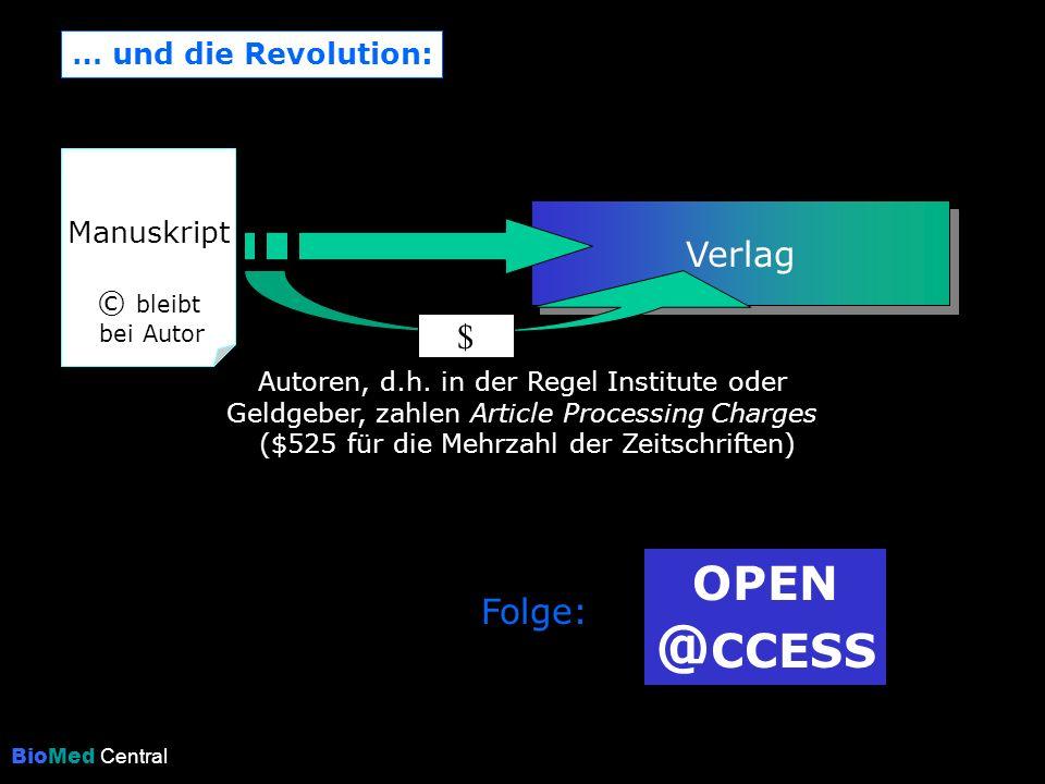 … und die Revolution: Verlag Manuskript © bleibt bei Autor $ Autoren, d.h. in der Regel Institute oder Geldgeber, zahlen Article Processing Charges ($