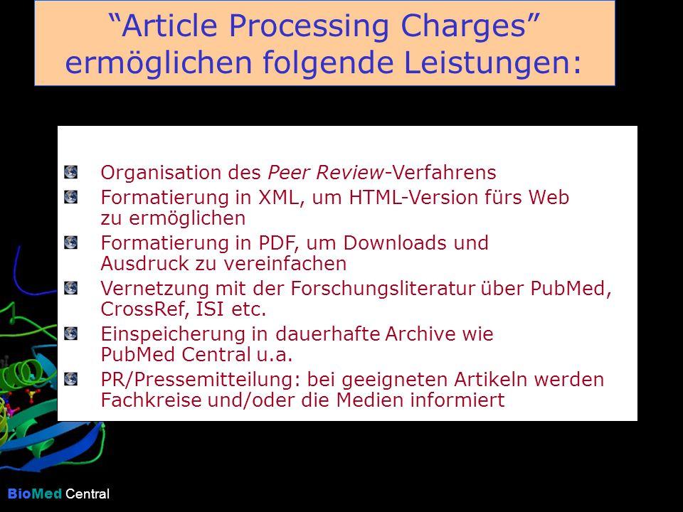 BioMed Central Article Processing Charges ermöglichen folgende Leistungen: Organisation des Peer Review-Verfahrens Formatierung in XML, um HTML-Version fürs Web zu ermöglichen Formatierung in PDF, um Downloads und Ausdruck zu vereinfachen Vernetzung mit der Forschungsliteratur über PubMed, CrossRef, ISI etc.
