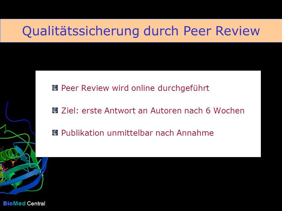 BioMed Central Peer Review wird online durchgeführt Ziel: erste Antwort an Autoren nach 6 Wochen Publikation unmittelbar nach Annahme Qualitätssicherung durch Peer Review