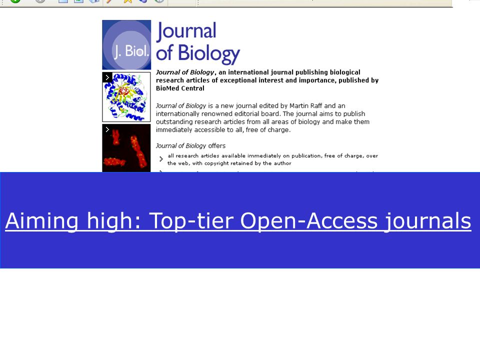 BioMed Central Aiming high: Top-tier Open-Access journals