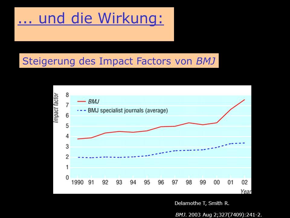 BioMed Central... und die Wirkung: Steigerung des Impact Factors von BMJ Delamothe T, Smith R. BMJ. 2003 Aug 2;327(7409):241-2.