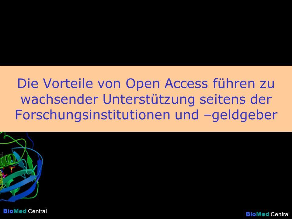 BioMed Central Die Vorteile von Open Access führen zu wachsender Unterstützung seitens der Forschungsinstitutionen und –geldgeber BioMed Central