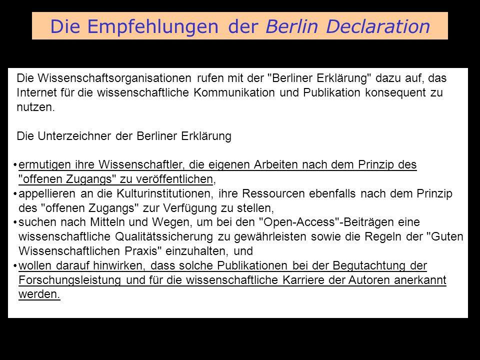 BioMed Central Die Wissenschaftsorganisationen rufen mit der Berliner Erklärung dazu auf, das Internet für die wissenschaftliche Kommunikation und Publikation konsequent zu nutzen.