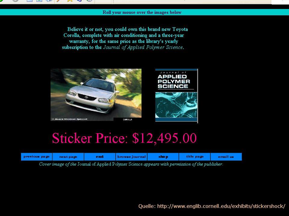 BioMed Central Quelle: http://www.englib.cornell.edu/exhibits/stickershock/