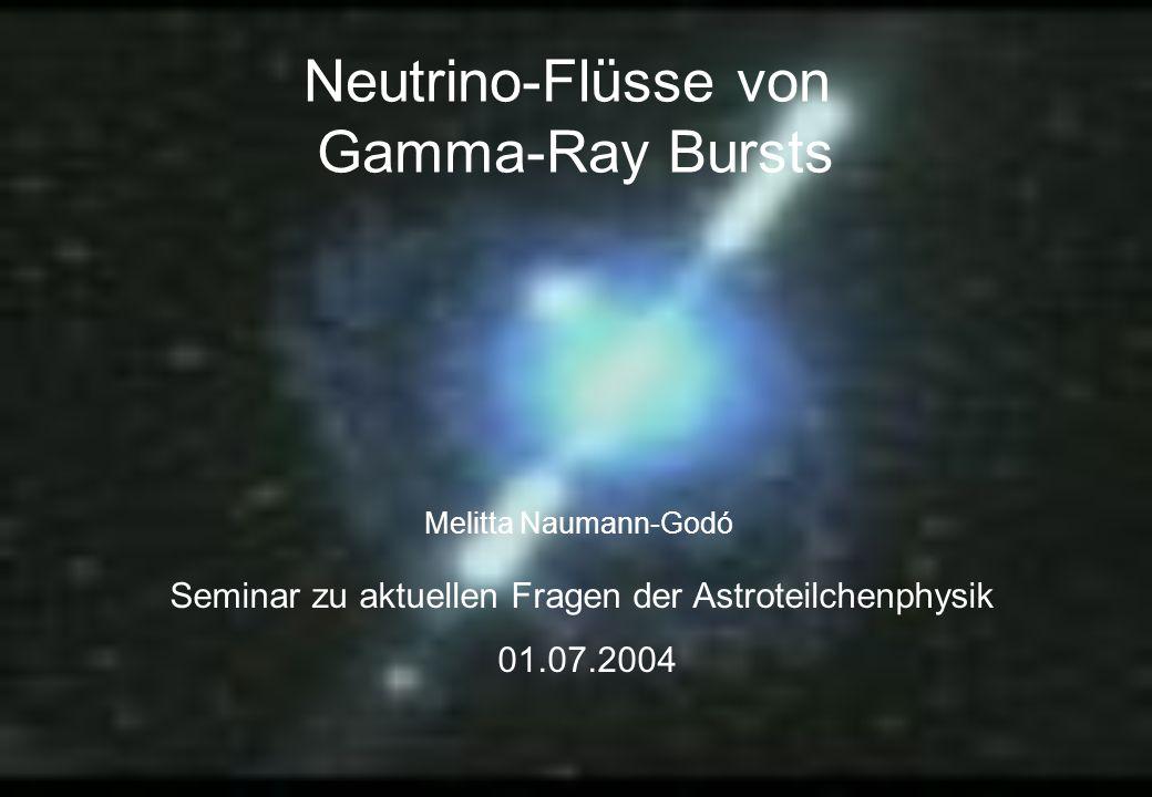 Melitta Naumann-Godó Seminar zu aktuellen Fragen der Astroteilchenphysik 2004 UEHCR Flüsse beobachtete Rotverschiebungs- verteilung der GRBs 1 < z < 4.5 wenn Protonen den selben Beschleunigungsmechanismen ausgesetzt sind wie Elektronen, dann ist die CR-Produktionsrate durch GRBs: Produktionsrate der UHE Protonen in guter Übereinstimmung mit den gemessenen Flüssen für E>10 19 eV Fluss oberhalb von 10 20 eV unterdrückt, da Protonen mit 2.7K reagieren GZK cutoff