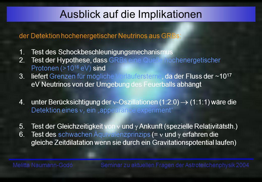 Melitta Naumann-Godó Seminar zu aktuellen Fragen der Astroteilchenphysik 2004 Ausblick auf die Implikationen der Detektion hochenergetischer Neutrinos