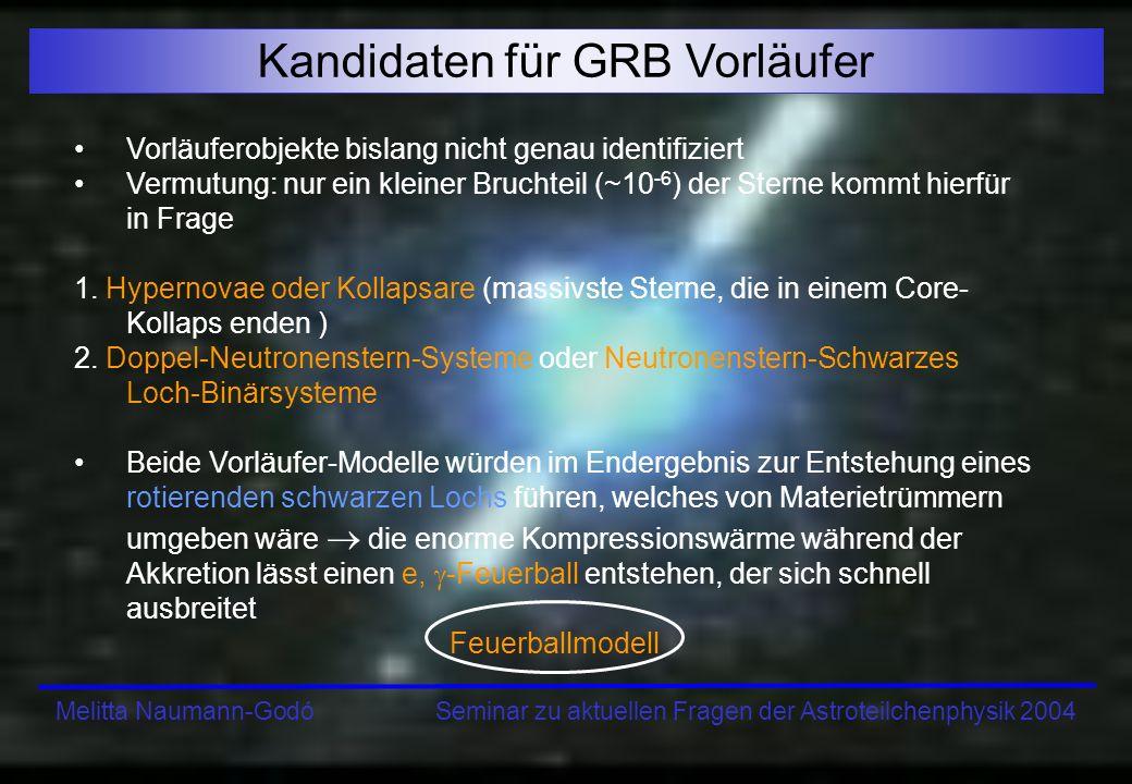Melitta Naumann-Godó Seminar zu aktuellen Fragen der Astroteilchenphysik 2004 Kandidaten für GRB Vorläufer Vorläuferobjekte bislang nicht genau identi