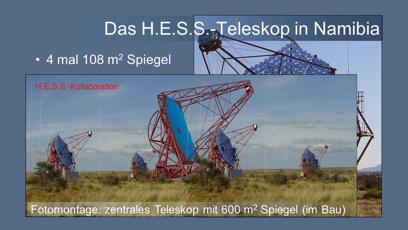 Das H.E.S.S.-Teleskop in Namibia 4 mal 108 m 2 Spiegel H.E.S.S.-Kollaboration Fotomontage: zentrales Teleskop mit 600 m 2 Spiegel (im Bau) H.E.S.S.-Kollaboration