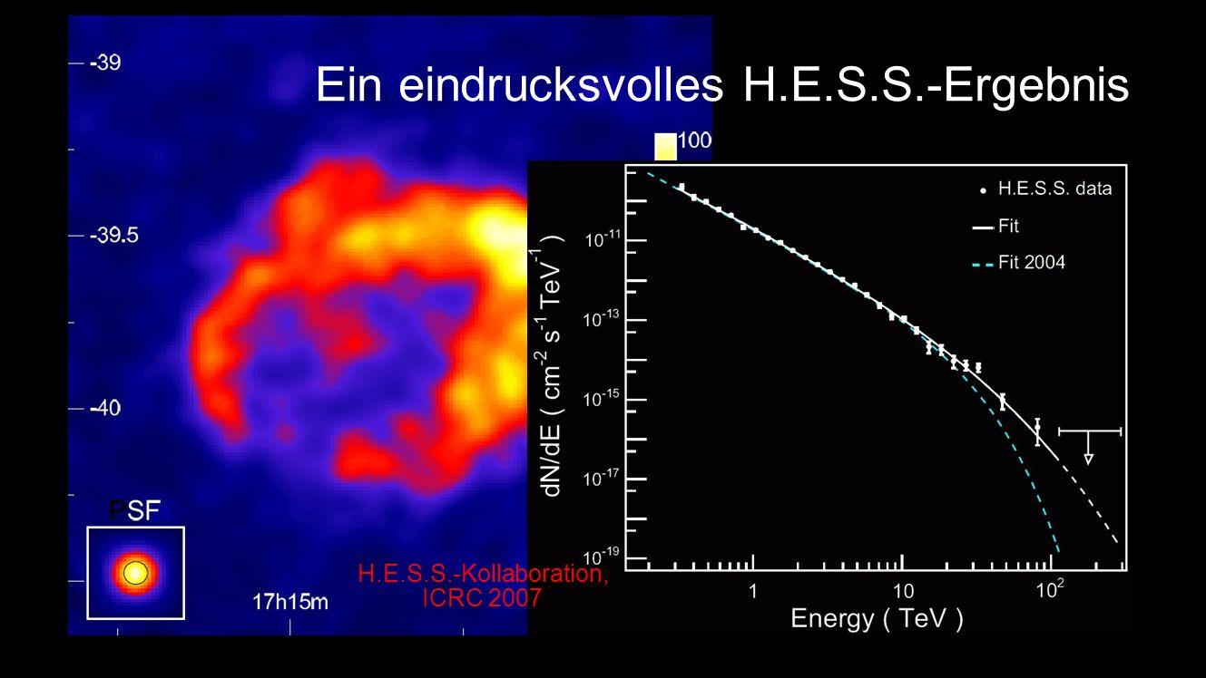 Ein eindrucksvolles H.E.S.S.-Ergebnis Supernova-Rest RXJ1713-3946 (in der Milchstraße) Kugelförmige Schockwelle nach Explosion, breitet sich mehrere 1000 Jahre lang aus Galaktischer Beschleuniger?.