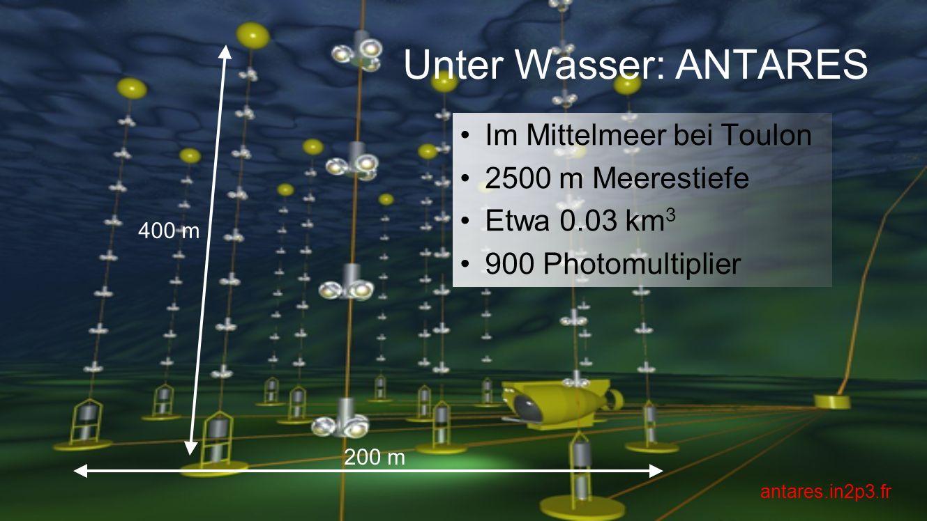 Unter Wasser: ANTARES Im Mittelmeer bei Toulon 2500 m Meerestiefe Etwa 0.03 km 3 900 Photomultiplier 200 m 400 m antares.in2p3.fr