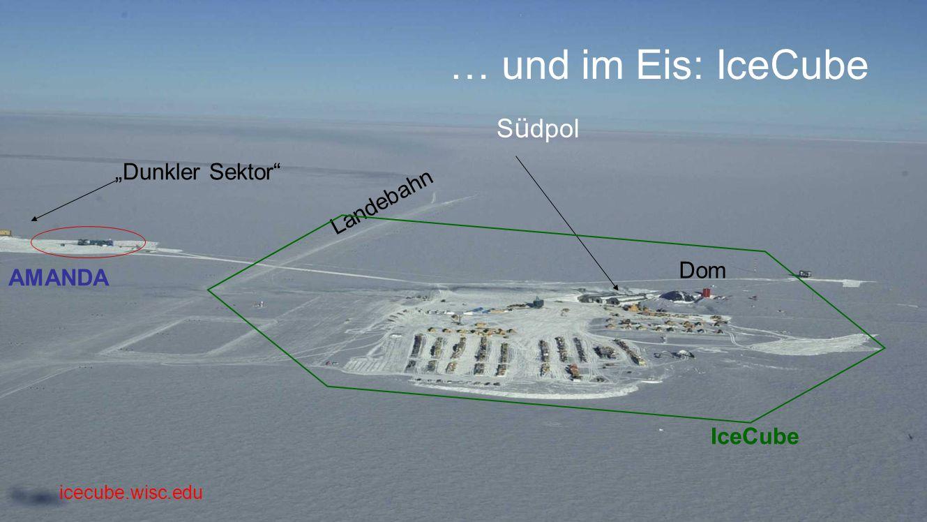 S ü dpol Dunkler Sektor AMANDA Dom Landebahn IceCube … und im Eis: IceCube icecube.wisc.edu