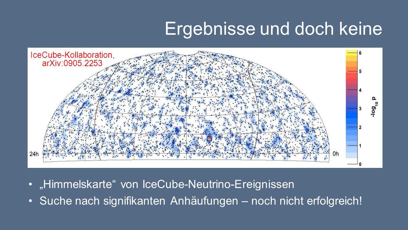 Ergebnisse und doch keine Himmelskarte von IceCube-Neutrino-Ereignissen Suche nach signifikanten Anhäufungen – noch nicht erfolgreich.