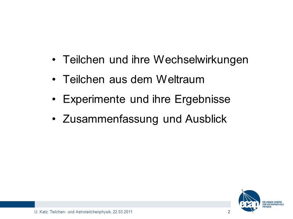 U. Katz: Teilchen- und Astroteilchenphysik, 22.03.2011 2 Teilchen und ihre Wechselwirkungen Teilchen aus dem Weltraum Experimente und ihre Ergebnisse