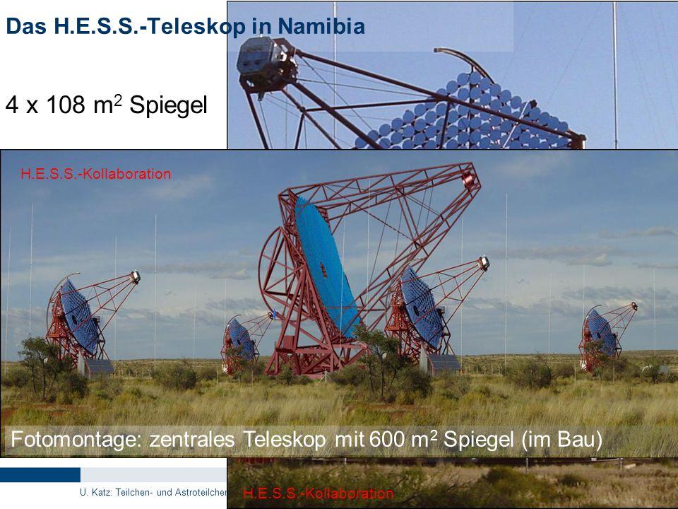 U. Katz: Teilchen- und Astroteilchenphysik, 22.03.2011 21 Das H.E.S.S.-Teleskop in Namibia 4 x 108 m 2 Spiegel H.E.S.S.-Kollaboration Fotomontage: zen