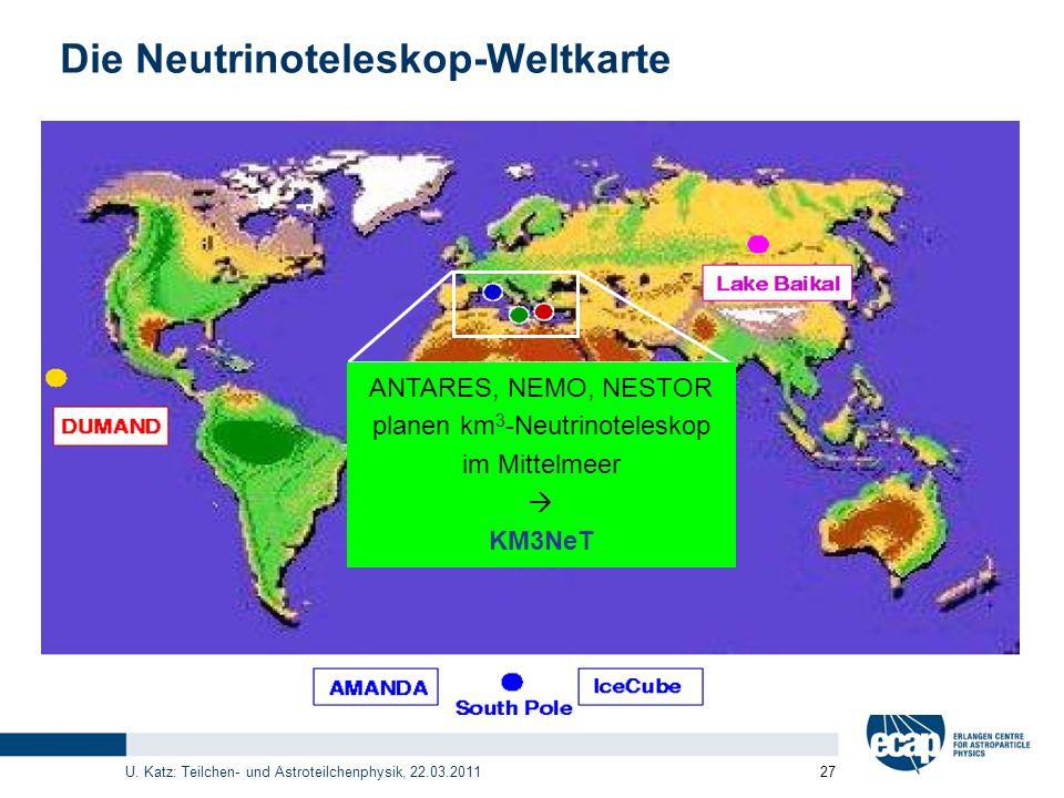 U. Katz: Teilchen- und Astroteilchenphysik, 22.03.2011 27 Die Neutrinoteleskop-Weltkarte NEMO ANTARES, NEMO, NESTOR planen km 3 -Neutrinoteleskop im M