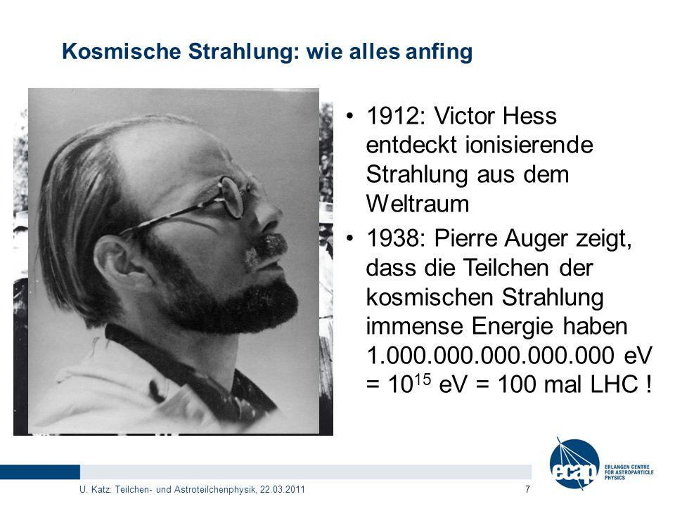 U. Katz: Teilchen- und Astroteilchenphysik, 22.03.2011 7 Kosmische Strahlung: wie alles anfing 1912: Victor Hess entdeckt ionisierende Strahlung aus d