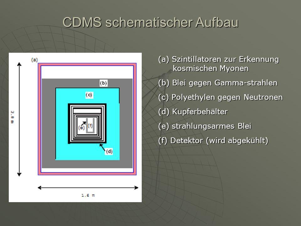 CDMS schematischer Aufbau (a) Szintillatoren zur Erkennung kosmischen Myonen (b) Blei gegen Gamma-strahlen (c) Polyethylen gegen Neutronen (d) Kupferb