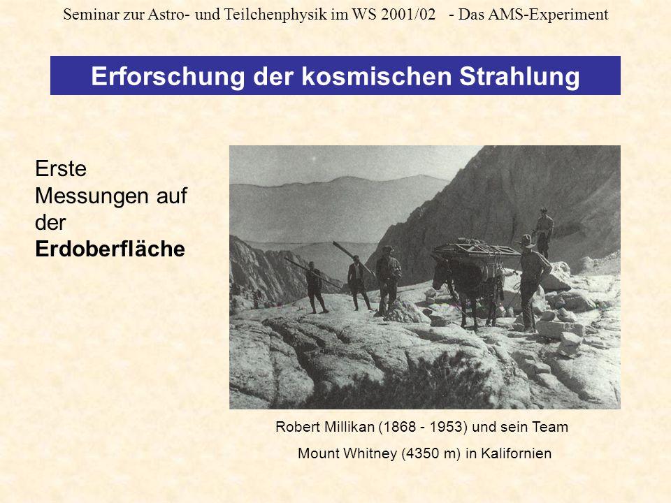 Seminar zur Astro- und Teilchenphysik im WS 2001/02 - Das AMS-Experiment Erforschung der kosmischen Strahlung Robert Millikan (1868 - 1953) und sein Team Mount Whitney (4350 m) in Kalifornien Erste Messungen auf der Erdoberfläche