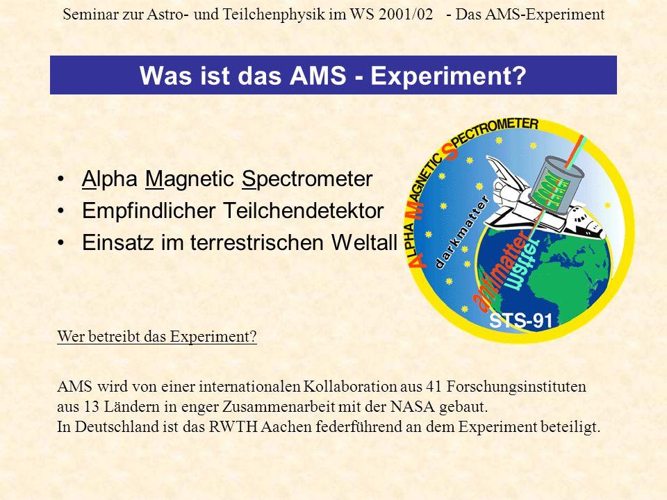 Seminar zur Astro- und Teilchenphysik im WS 2001/02 - Das AMS-Experiment Was ist das AMS - Experiment.
